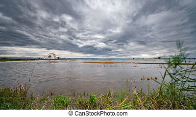 Sliding camera towards flooded rice field in Albufera - Wide...