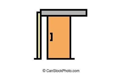 sliding door animated color icon. sliding door sign. isolated on white background