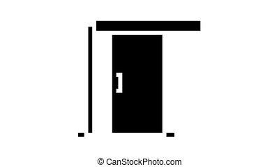 sliding door animated glyph icon. sliding door sign. isolated on white background