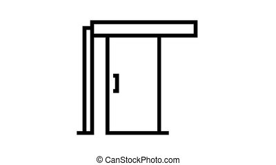 sliding door animated black icon. sliding door sign. isolated on white background