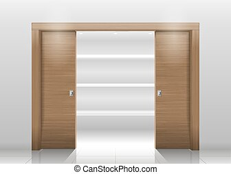 Sliding door wardrobe or dressing room, changing rooms, shop...