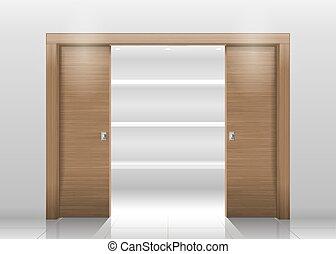 Sliding door wardrobe or dressing room, changing rooms, shop...