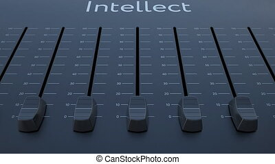 Sliding fader with intellect inscription. Conceptual 4K clip...