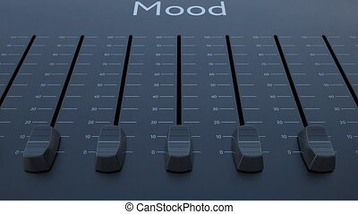 Sliding fader with mood inscription. Conceptual 4K clip