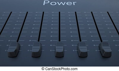 Sliding fader with power inscription. Conceptual 4K clip