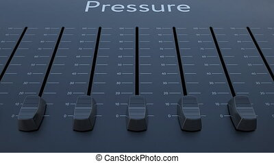 Sliding fader with pressure inscription. Conceptual 4K clip
