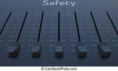 Sliding fader with safety inscription. Conceptual 4K clip