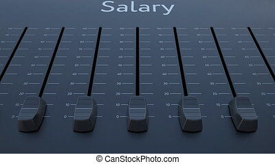 Sliding fader with salary inscription. Conceptual 4K clip...