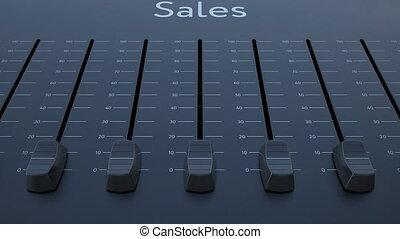 Sliding fader with sales inscription. Conceptual 4K clip