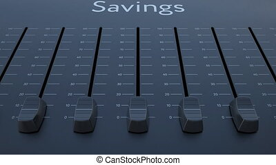 Sliding fader with savings inscription. Conceptual 4K clip