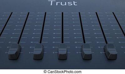 Sliding fader with trust inscription. Conceptual 4K clip