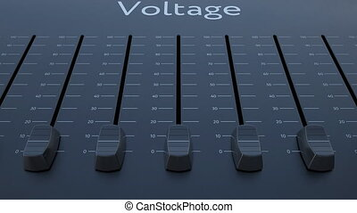 Sliding fader with voltage inscription. Conceptual 4K clip