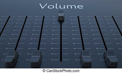 Sliding fader with volume inscription. Conceptual 3D rendering