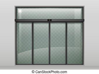 Blank Sliding Glass Doors Entrance Mockup 3d Rendering