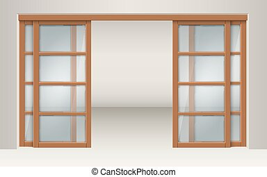 Sliding glass doors with wooden lintels