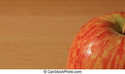 Sliding macro view of an apple