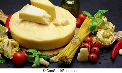 Video of Traditional italian food - parmesan cheese, pasta,...