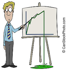 Slight Drop In Sales - Someone giving a presentation with a...