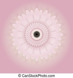 Slightly pink flower. Vector image. With pink and yellow background