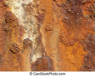 A rusty and corroded hull of a sunken container ship.