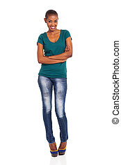 slim african woman standing over white background