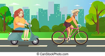 Slim and fat womans ride scooter and bike . Obesity. Healthy and unhealthy lifestyle. Flat vector color cartoon illustration for web. Panorama city park background