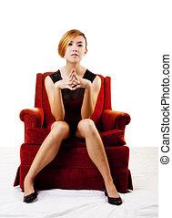 Slim Asian American Woman Sitting In Chair