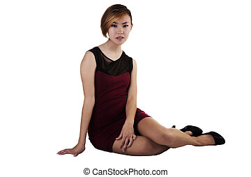 Slim Asian American Woman Sitting Red And Black Dress