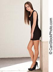 Slim beauty. - Portrait of a gorgeous fashionable slim ...