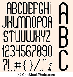 Slim black font, numbers and punctuation marks. Vector set