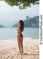 Slim brunette female tourist standing on the beach wearing bikini and sunglasses looking over sea with mountains
