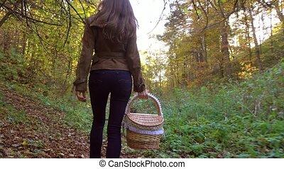 Slim brunette girl walking in autumn forest holding a picnic basket. 4K steadicam video
