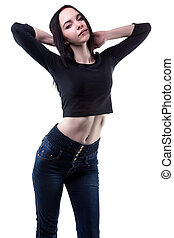Slim brunette woman with hands up