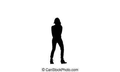 Slim, close-cropped girl dancer dancing jazz-funk vogueing on white background, slow motion, silhouette