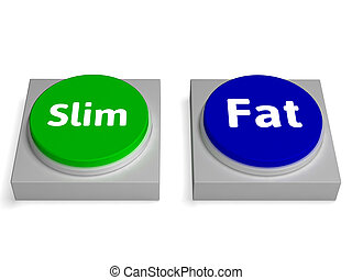 Slim Fat Buttons Shows Thin Or Overweight