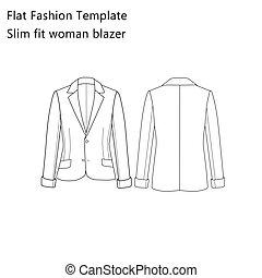 Slim Fit Woman Blazer - Flat Fashion template - Slim Fit...
