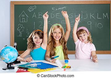 slim, geitjes, student, groep, op, school, klaslokaal