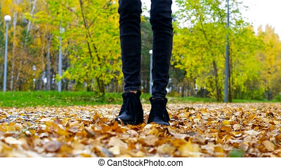 slim girl legs in black jeans play with dry yellow foliage -...