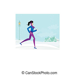 slim girl running in winter