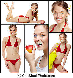 Slim girl - Collage of a young girl in red bikini isolated...
