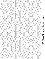 Slim gray overlapping hexagons in turn