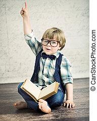 slim, jongen lees, een, roman