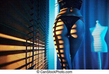 Slim lady walking in the apartment - Slim lady walking in ...
