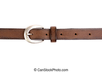 slim leather belt isolated on white - slim leather belt with...