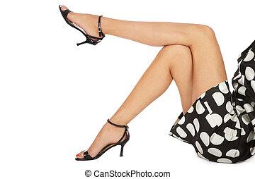 Slim legs - Legs of slim tanned woman in stylish peep-toes...