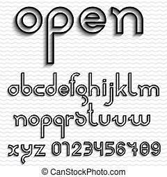 Slim outline font and numbers. Vector set