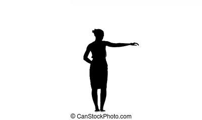 Slim professional dancer woman dancing beautiful social latino dance, on white, silhouette