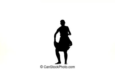 Slim professional dancer woman finish dancing social latino...