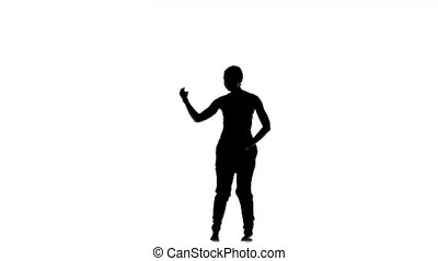 Slim professional dancer woman performs social latino dance, on white, silhouette