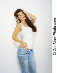 Slim sexy brunette